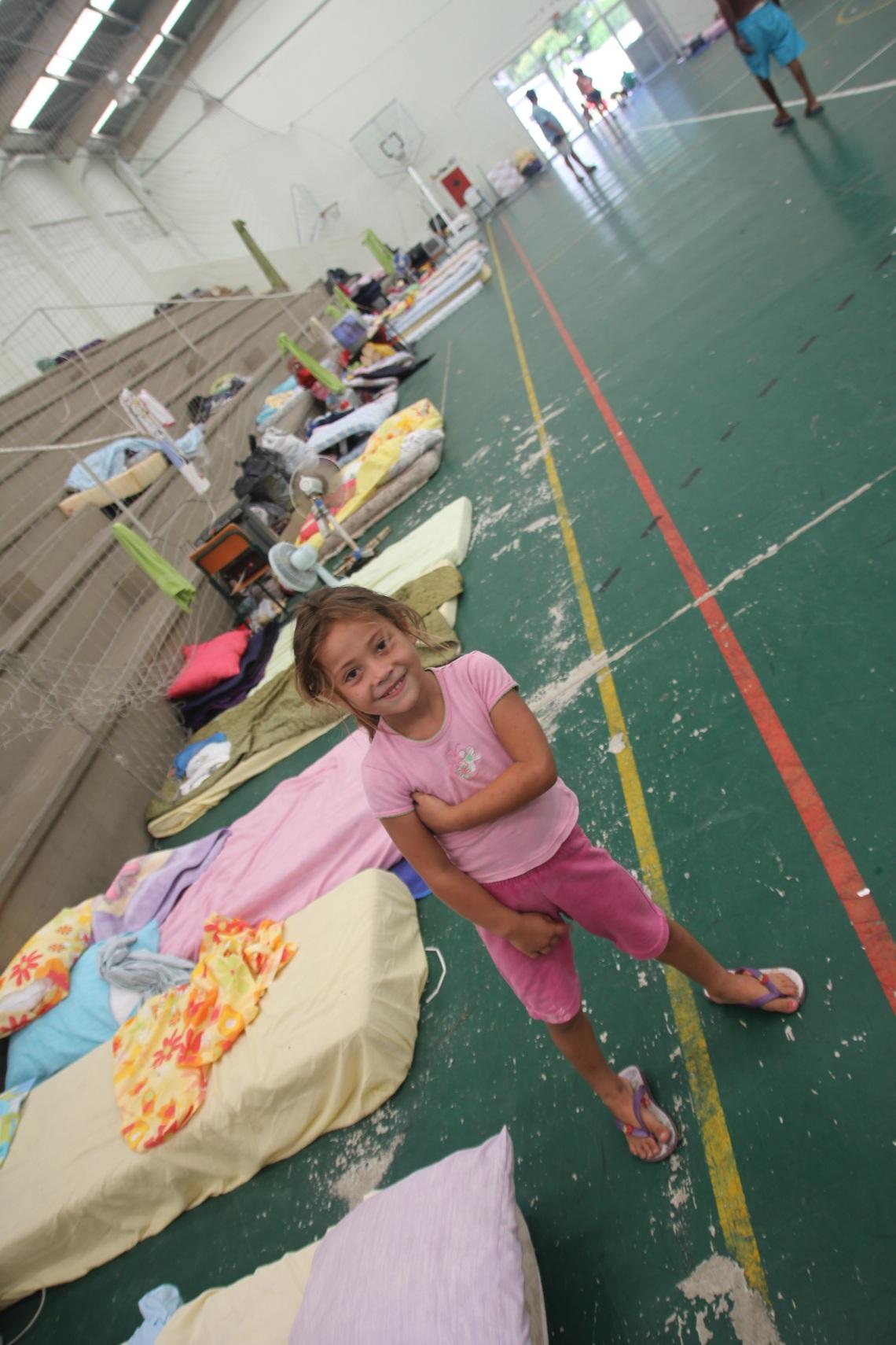 temporary shelter in gymnastics hall